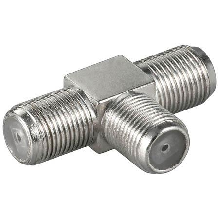 Image of Antenne Adapter F-Connector Female - 2x F Female Zilver