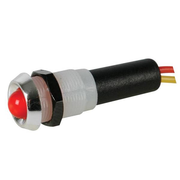 LED LAMP 12V ROOD - CHROMEN BEHUIZING - Led lamp 12v rood - chromen ...