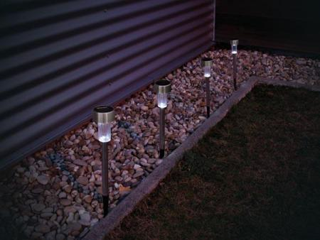 solar light with stainless steel pole 24pcs in display. Black Bedroom Furniture Sets. Home Design Ideas