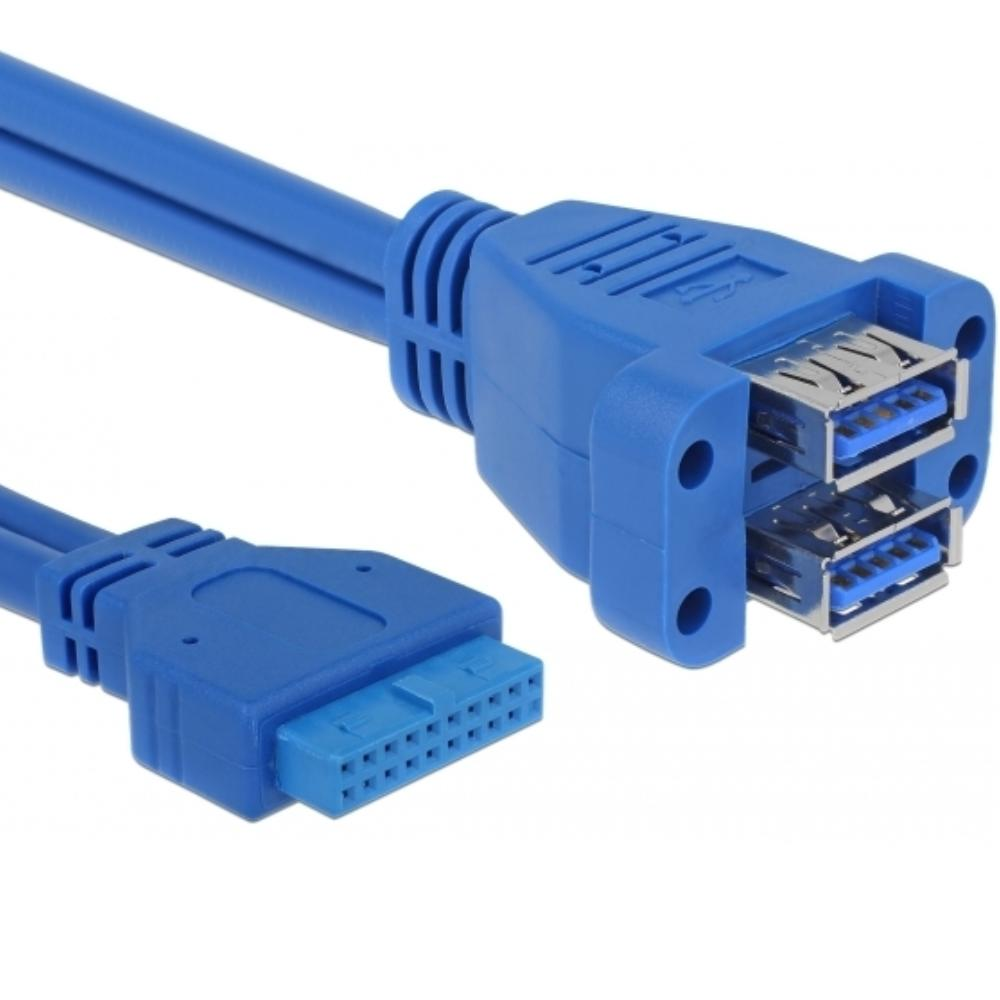 Pin Header naar 2x USB 3.0 kabel