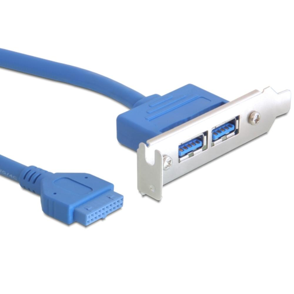 Pin Header naar 2x usb 3.0 bracket