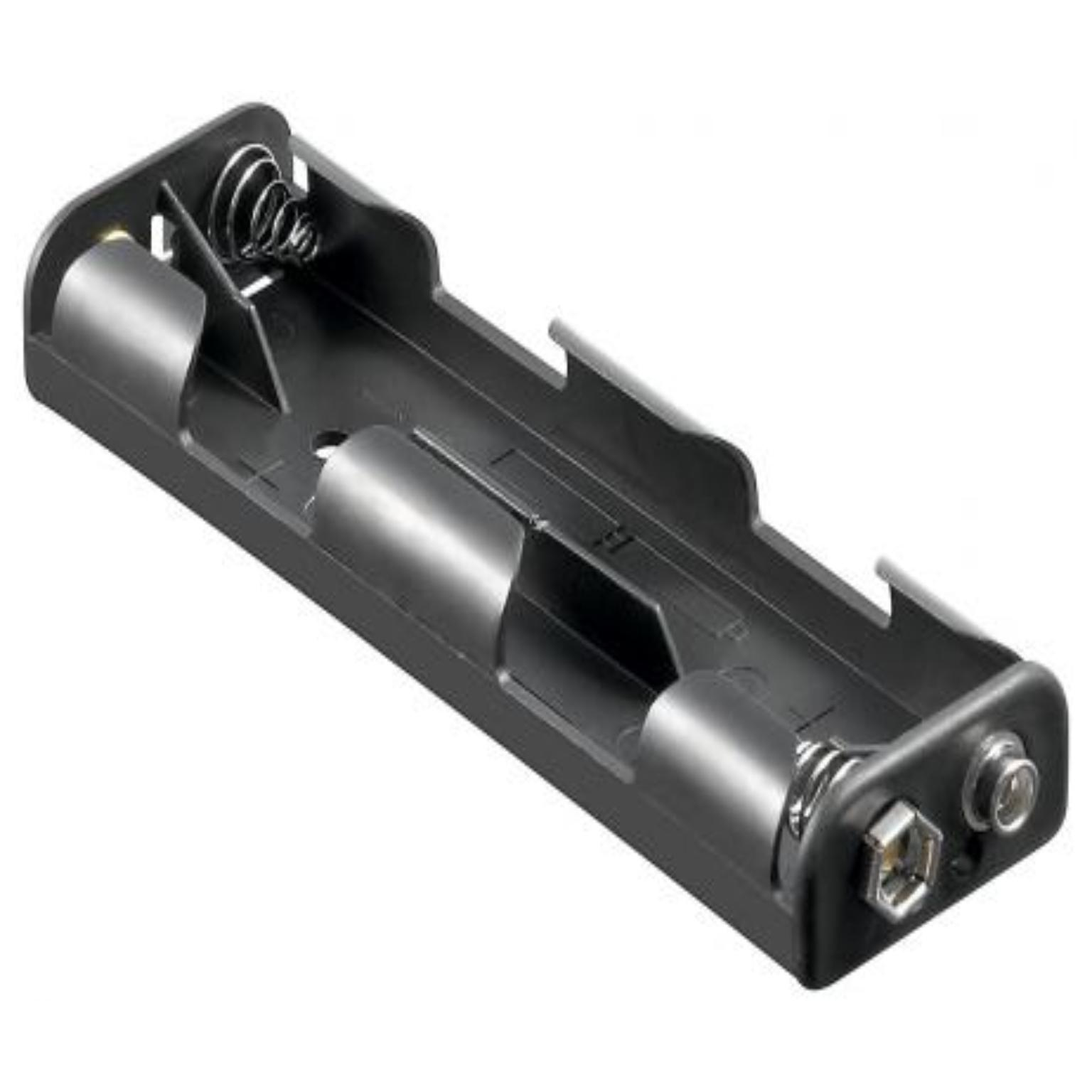 Battery holder , 4x mignon inchesAAinches<br>with snap terminal batterieholder suitable for cells in size:4x mignon (AA)Dimensions:   109 x 32 x 16 mmConnector:     with snap terminal (9V)