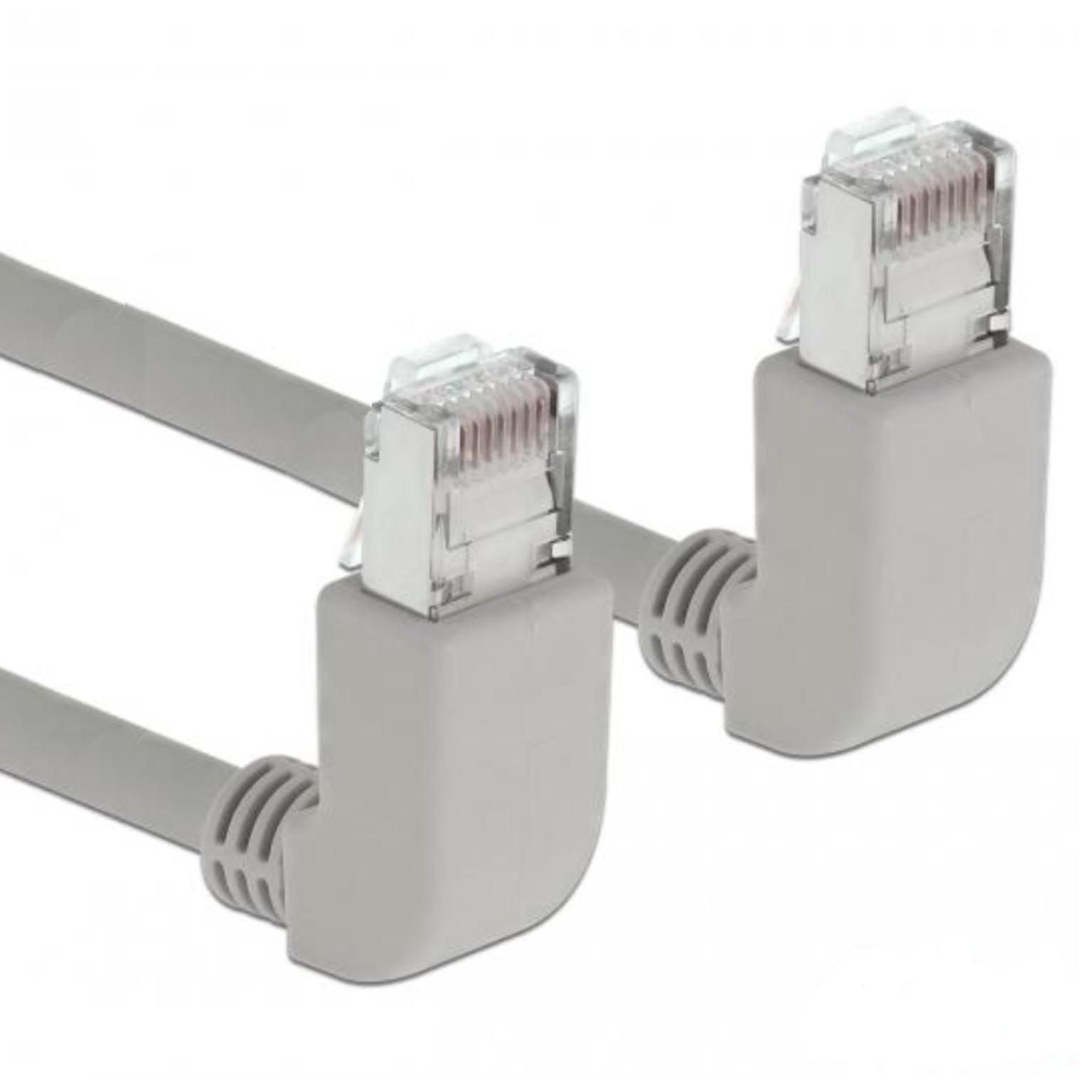Delock Cable RJ45 Cat.6 SSTP angled / angled 0.5 m This network cable by Delock is used to connect different network devices, such as a patch panel to a switch. The angled plug enables a space- saving installation in tight spaces behind appliances or in network closets