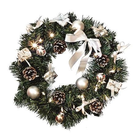 kerstversiering kerstversiering kerstkrans verlichting led koud wit toepassing binnen aantal lampjes 20 batterij 1x aa excl