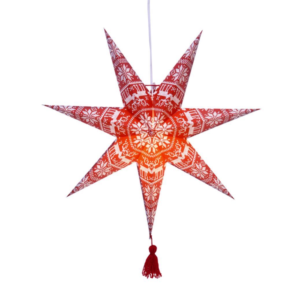 Kerstster - Kerstster - Rood/Wit, Type: Papier - E14 Lamp ...