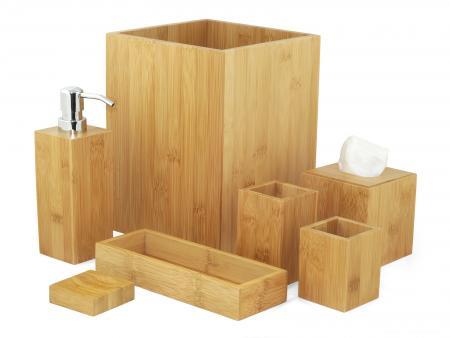 Badkamer accessoire set - Bamboe - Badkamer accessoire set ...