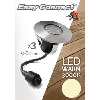 Afbeelding van 3 Medium inbouwspots Ø 6 cm LED 1,2 W warmwit 3000K Easy Connect