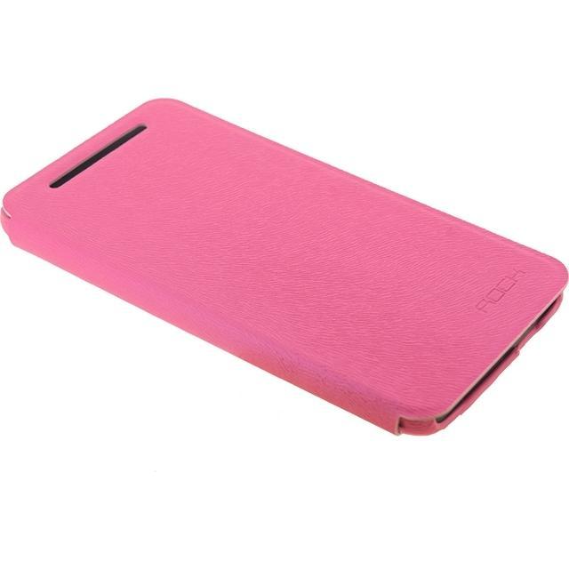 Afbeelding van Rock Big City Leather Side Flip Case HTC One Rose Red