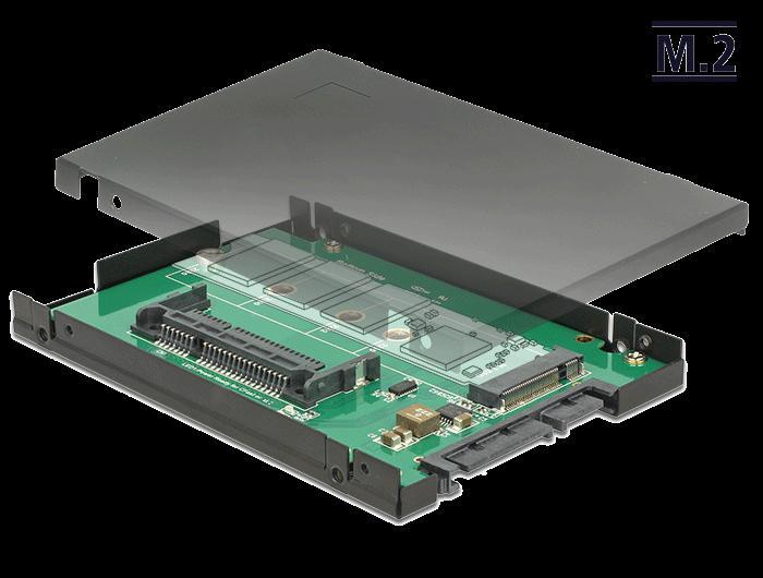 Afbeelding van 2.5″ Konverter SATA 22 Pin > 1 x M.2 / CFast 9,5 mm Gehäuse