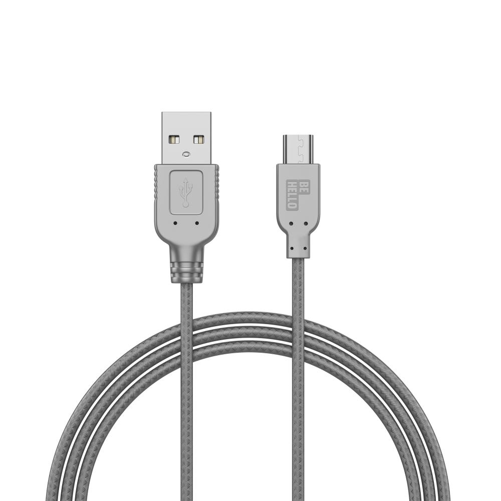 Afbeelding van BeHello Charge and Synch Cable Micro USB 1m Braided Silver