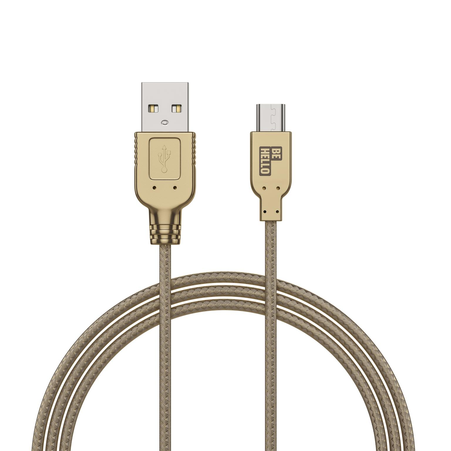 Afbeelding van BeHello Charge and Synch Cable Micro USB 1m Braided Gold