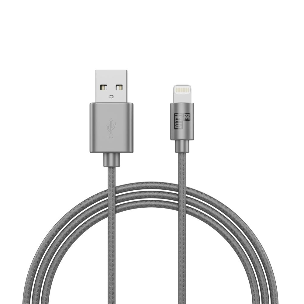 Afbeelding van BeHello Charge and Synch Cable Lightning 1m Braided Silver