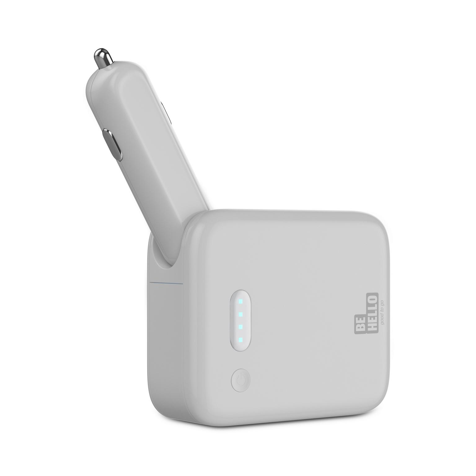 Afbeelding van BeHello Car Charger USB 2 in 1 plus Powerbank 3000 mAh White