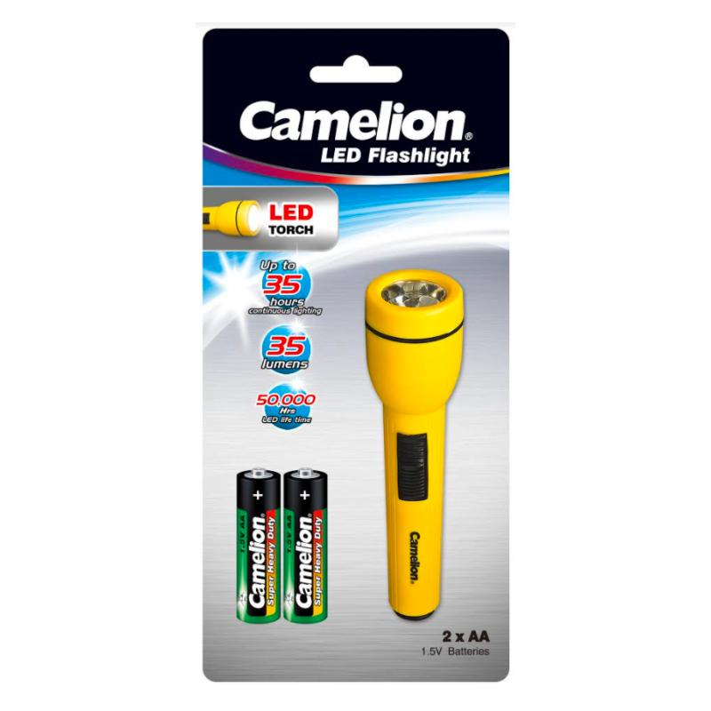 Camelion Zaklamp FL1AA2R6P  Torche with 2 x R06 Batteries LED