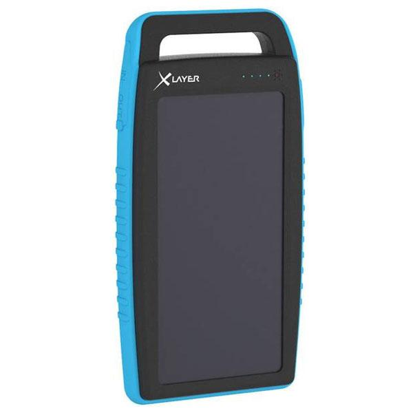 Xlayer Powerbank PLUS Solar zwart/blauw 15000mAh - 215774 Xlayer Powerbank PLUS Solar zwart/blauw 15000mAh