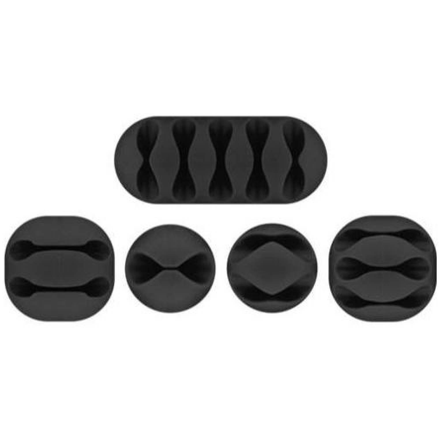 Cable management set, black<br>5-piece set for organising and attaching ca Goobay Cable management set, black, black, Sandwich-blister - 5-piece set for organising and attaching cablesset consists of: 1x one-slot clips, 2x two-slot clips, 1x three-slot clips, 1x five-slot clipsorganise your cables in the office or at homedurable, long-lasting 3M adhesive surface