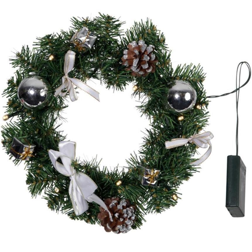 LED-Fir-Wreath ''Decorage'', Silver